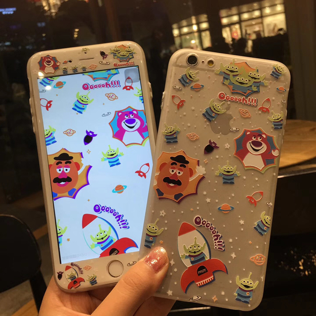 For Iphone 7 7plus Case Tempered Glass Screen Film Cartoon Toy