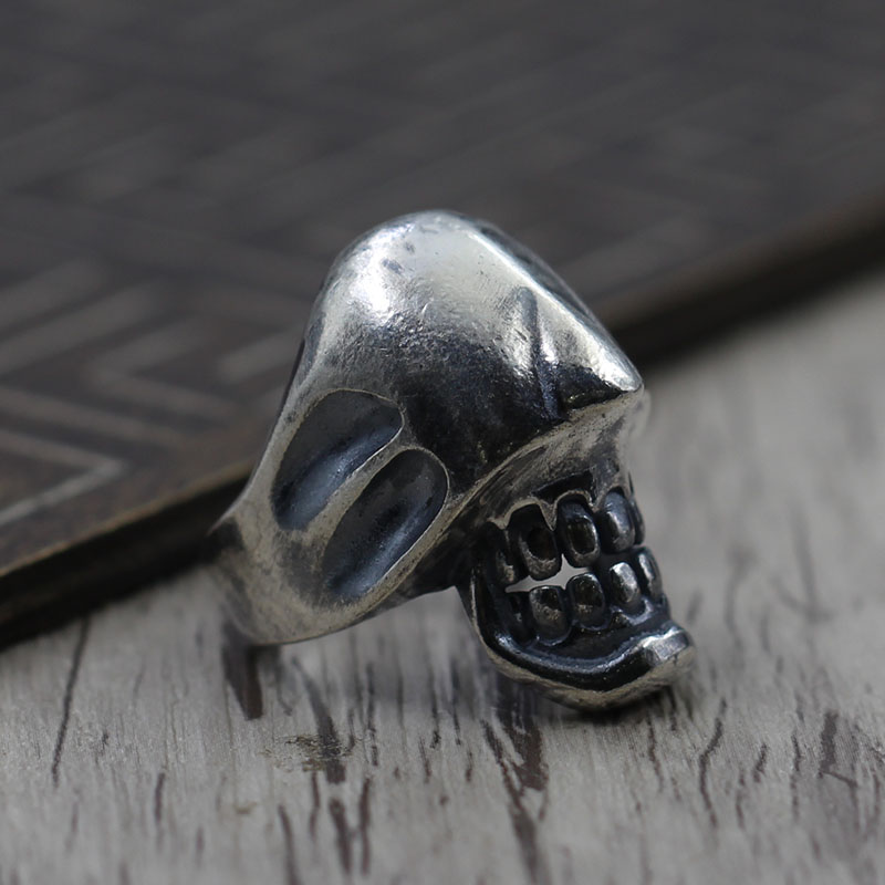 Thai Silver Skull Ring Opening men's personality Retro Vintage Sterling Silver Jewelry Ring S925 typing s925 sterling silver skull ring metrosexual officers personality of world war ii punk man retro silver ring opening