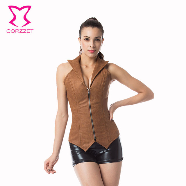 Corzzet Brown Collar Zipper Steampunk Overbust Corsets And Bustiers Waist Trainer Steel Boned Gothic Corpetes Espartilhos