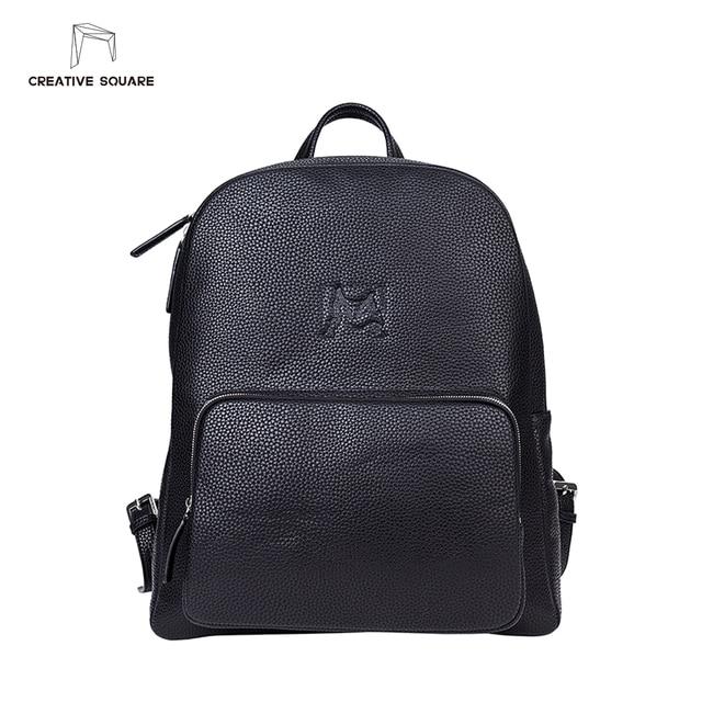 9b8d9308eb09 Creative Square luxury brand leather backpack men original design simple black  backpack fashion plain teenage schoolbag backpack