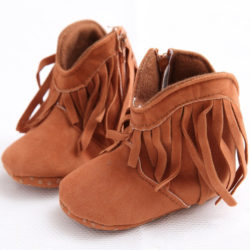 Moccasin Moccs Newborn Baby Girl Boy Kids Prewalker Solid Fringe Shoes Infant Toddler Soft Soled Anti-slip Boots Booties 0-1Year