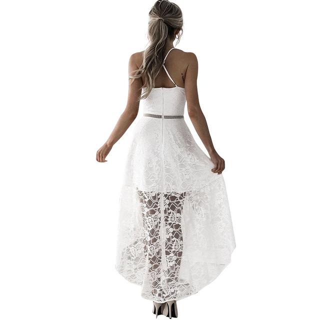 Asymmetrical Dress Women Hollow Out Lace Long Dress