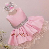 Cute Pink Stain Flower Girl Dresses With Sequin Bow Crew Neck Kids Easter Costume Toddler Pageant
