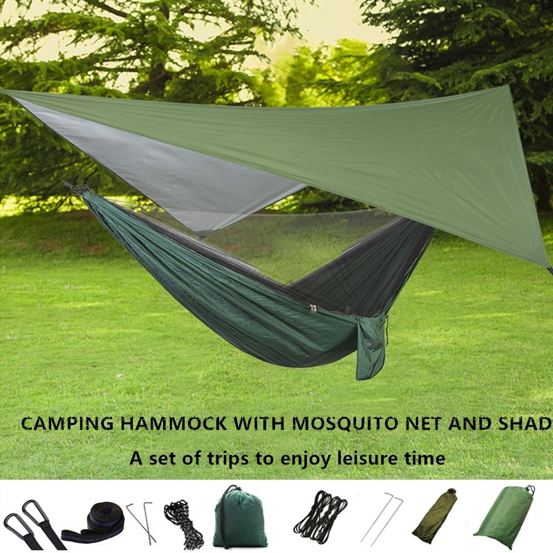 Outdoor Sun Shelter Camping Hammock with Mosquito Net and Flying Tent Portable Lightweight Nylon Hammocks with