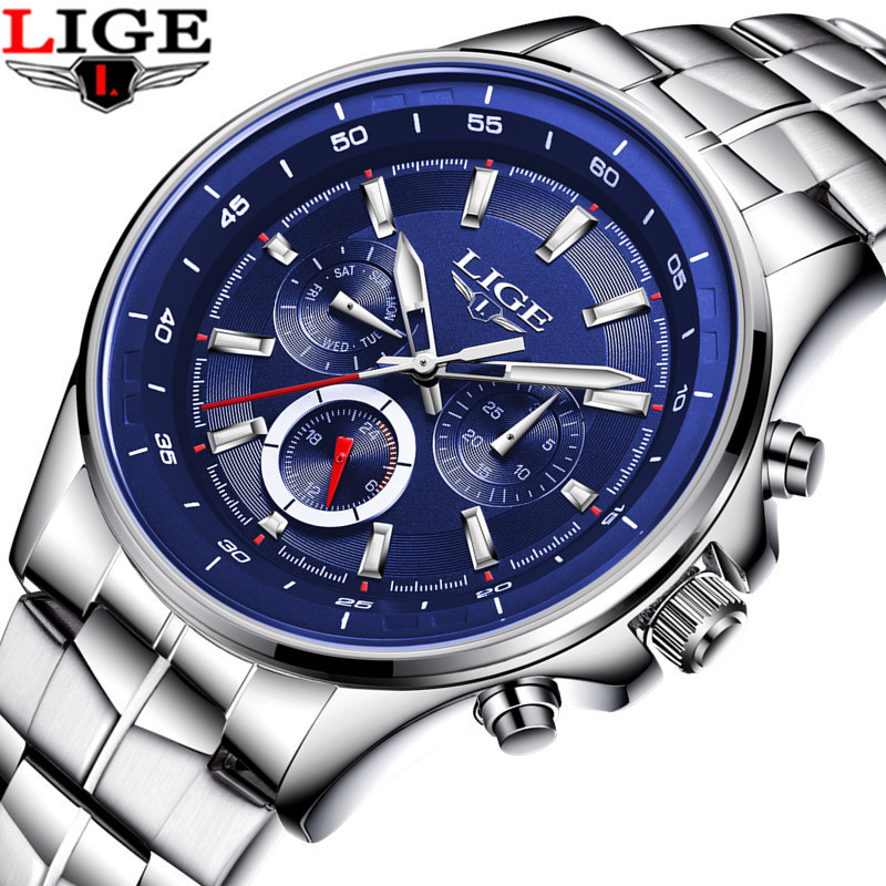LIGE Luxury Brand Men Army Military Watch Men's Quartz Date Clock Man Full Stainless Steel Sports Wrist Watch Relogio Masculino mens luxury sports stainless steel digital led military date quartz wrist watch