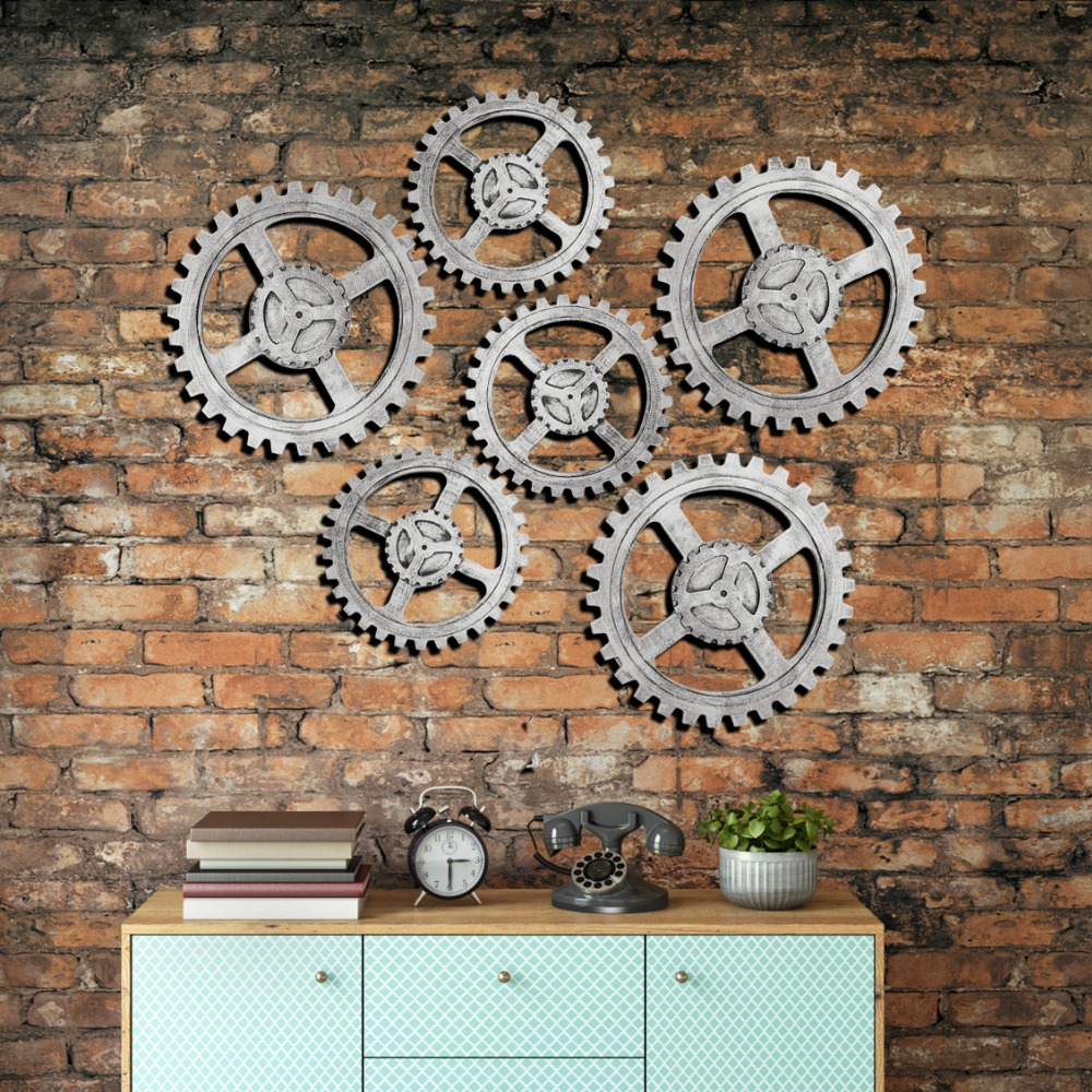 Steering Wheel Gear Retro European Style Industrial Landscape Creative Pendant Living Room Furniture Fashion Wall Hanging Decor