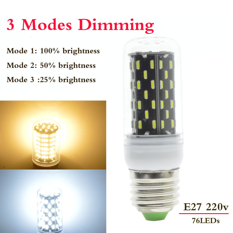 1x 3 modes dimmer e27 76led 9w 220v 230v no flicker smart. Black Bedroom Furniture Sets. Home Design Ideas