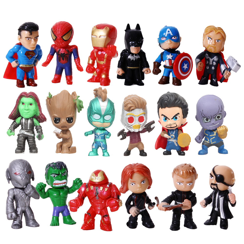 6/8/12 pcs The Avengers Miniatures Marvel PVC Action Figures Spiderman  Figurines Kids Toys Captain Marvel Batman Spider man Hulk