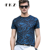 FKZ New Soft Men Casual T Shirts Short Sleeve O Neck Slim Fit Basic Tee Tailoring