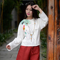 The New Women 's Literature and Art Cotton and Linen Hand - Painted Discs Spring Long - Sleeved Shirt Shirt Art Children