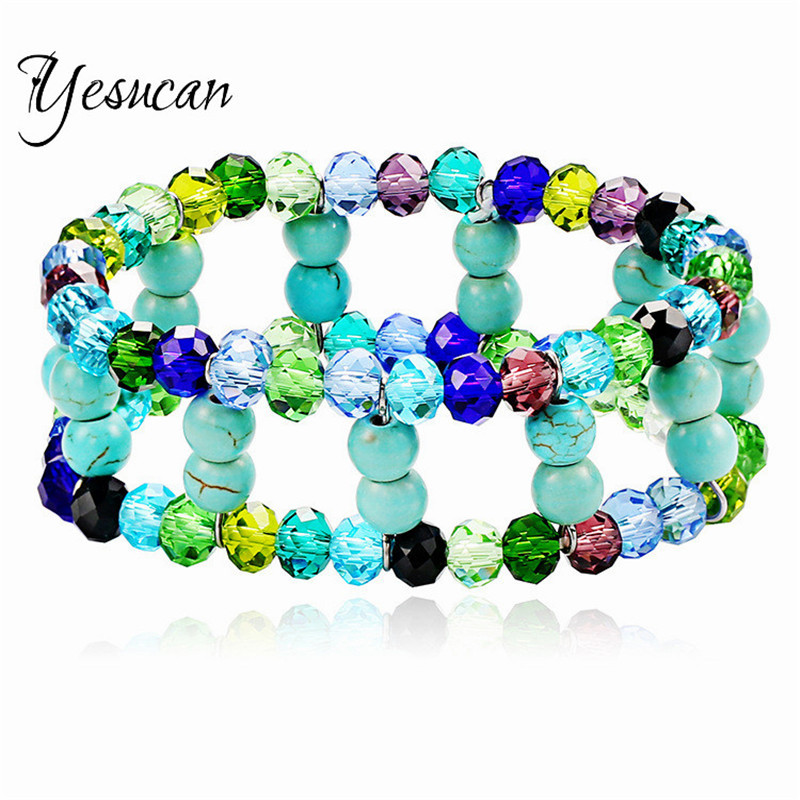 Yesucan Bohemia Vinage Colorful Beads Bracelets for Women Ethnic Style Double Elastic Bracelet Bangle Party Casual Jewelry