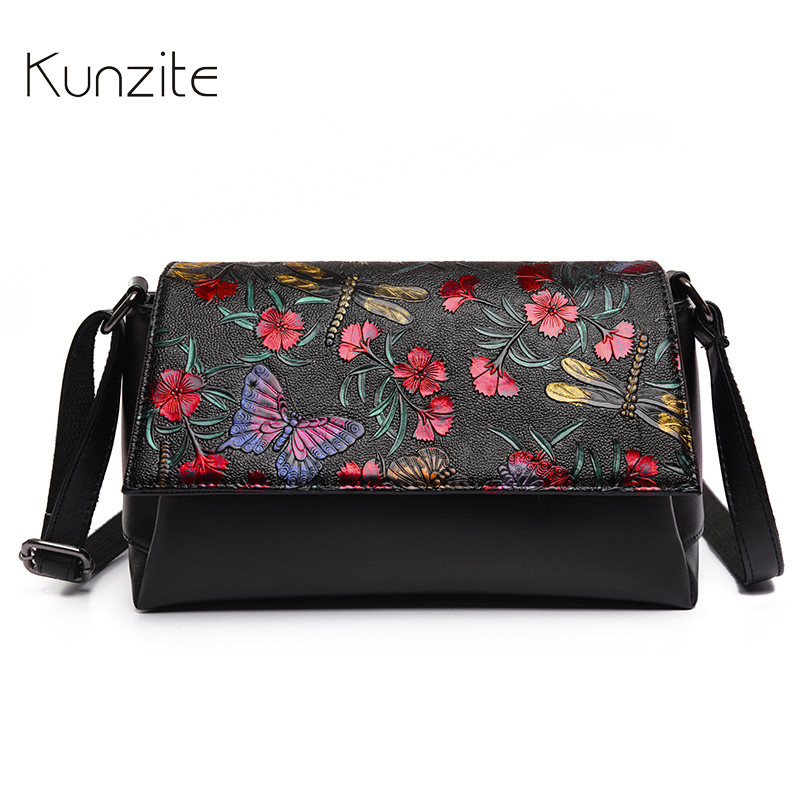 Kunzite Brand Fashion Printing Flower Luxury Handbags Women Bags 2017 Designer Crossbody Bags Vintage Sac A
