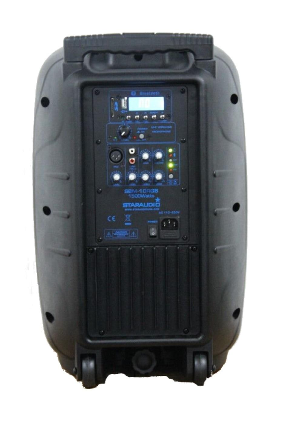 STARAUDIO 10″ 1500W Pro Active PA Recharge Battery LED RGB Lighting Bluetooth Speaker with 1 Mic SBM-10RGB