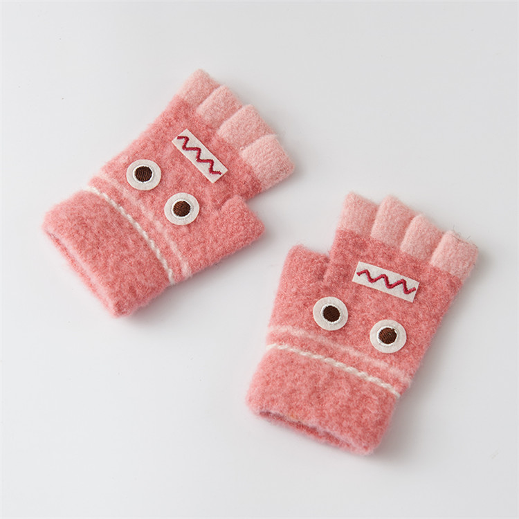 Варежки для детей подвергается Прихватки для мангала зима теплая половина палец Прихватки для мангала легко писать руки теплые Прихватки для мангала c6131 - Цвет: pink