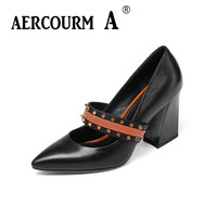 Aercourm A 2018 Women Rivet Silk Surface Shoes Ladies Genuine Leather Shoes Square Heel Pumps New