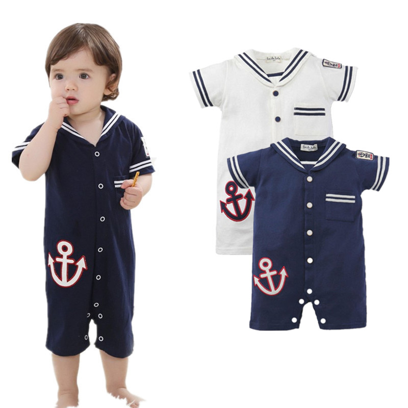 2017 Summer Boys Girls Short Sleeve Naval Wind Embroidery Cotton Romper Infant Newborn Baby Jumpsuit Roupas Bebe Toddler Clothes