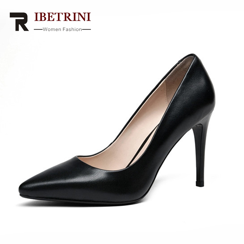 RIBETRINI 2018 Women's Patent Leather High Heel Party Wedding Office Shoes Woman Pointed Toe Less Pumps Size 34-39 2017 women pointed toe patent leather office high heel shoes ladies pumps wedding party dress shoes 8 cm appliques