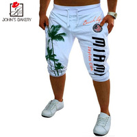 2017 Mens Shorts Casual Bermuda Brand Coconut Pattern Compression Male Cargo Shorts Men Linen Fashion Men