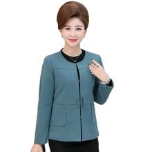 WAEOLSA Mature Woman Elegant Blazer Round Collar Jacket Suit Green Red Purple Short Coat Autumn Womens Office Blazers Mom Coats