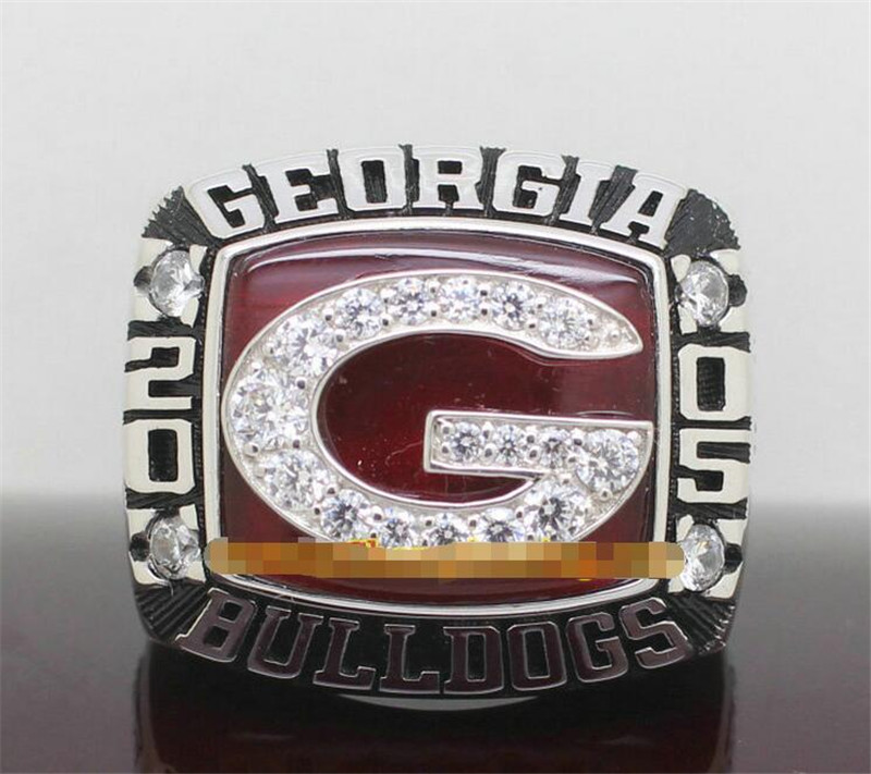Drop Shipping 2005 Georgia Bulldogs Outback Bowl Championship Ring with Wooden Display Box Solid Fan Men