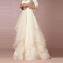 Exquisite White Chiffon Skirt Custom Made Ribbon Waistline A Line Floor Length Full Maxi Skirt Ruffles Skirts Women