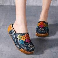 Summer Slippers Genuine Leather Shoes Handmade Flower Slides Flip Flops Platform Clogs For Women Wedges Slippers