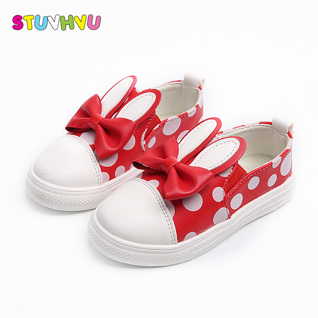 7e27d6609 1-10 Years old toddler girls shoes elastic cartoon rabbit red pink black  bow-tie children casual shoes spring autumn kids shoes