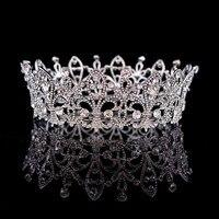 Luxury Bridal jewelry full crown Princess large round crystal crown tiara hair accessories round crown banquet headdress