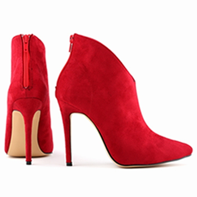 Hot sale Womens Faux Velvet Pumps Sexy Pointed Toe High Heels Stiletto Ankle Boots Shoes Size US 4 - 10