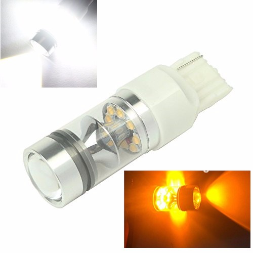 2x Super Bight 100W T20 7440 W21W Amber Yellow Sharp Chips LED Tail Brake Turn Signal Light Bulb For Car Auto No Error