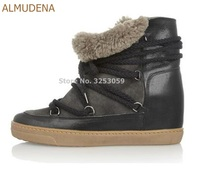 ALMUDENA High End Ladies Lace up Fur Ankle Boots Winter Warm Snow Boots Wedge Height Increasing Outdoor Casual Shoes Sneakers