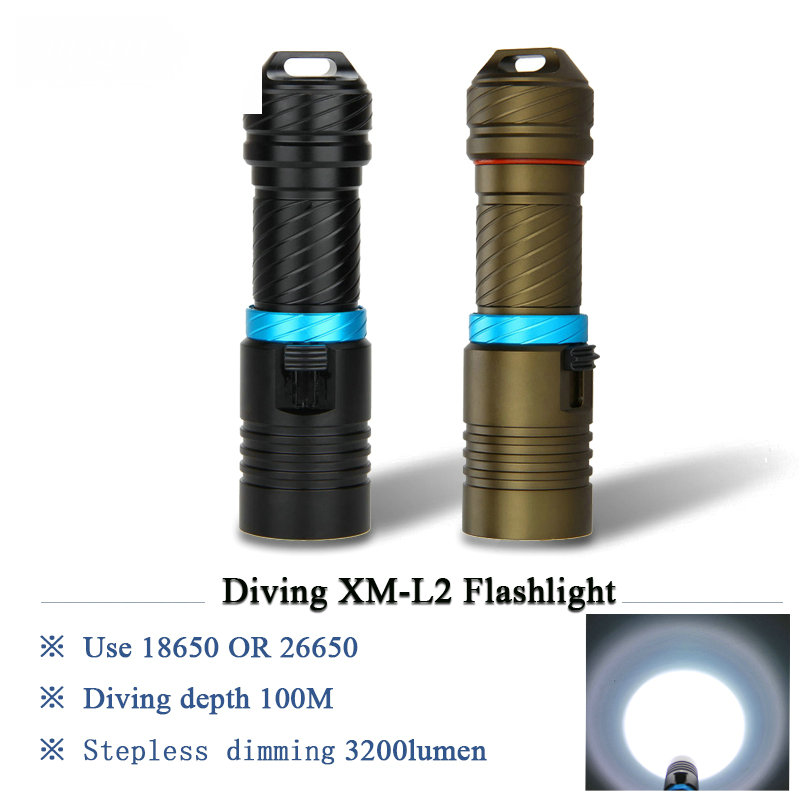 cree xm-l2 powerful scuba diving flashlight led xml l2 archon Hunting Underwater Light rechargeable torch 18650 OR 26650 battery