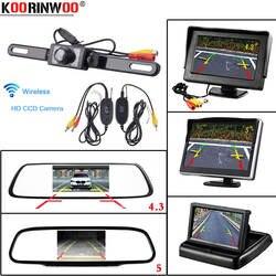 Koorinwoo Лицензия автомобиля монитор дисплей/складной/зеркало монитор 4,3 ''видео PAL/NTSC автопарковка заднего вида камера резервного копирования