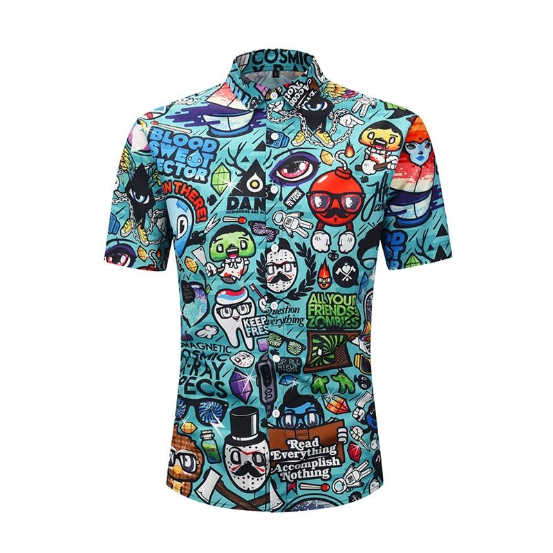 Short-sleeved large shirt Summer 2019 animation cartoon 3D printing short-sleeved mens fashion