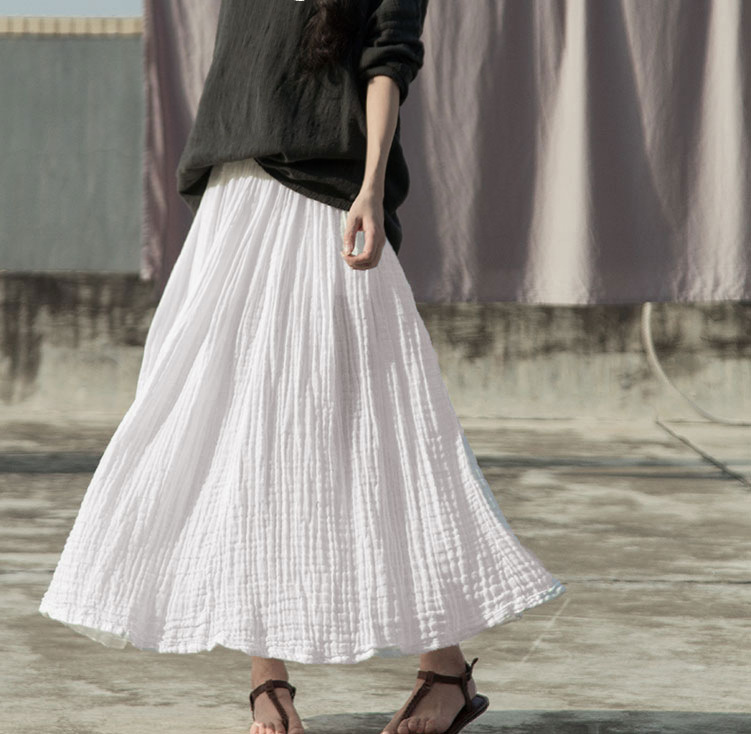 Women Original Maxi Skirt Spring Summer Autumn High Waist Cotton White Skirt Woman Vintage Elastic Pleated Causal Skirt Long