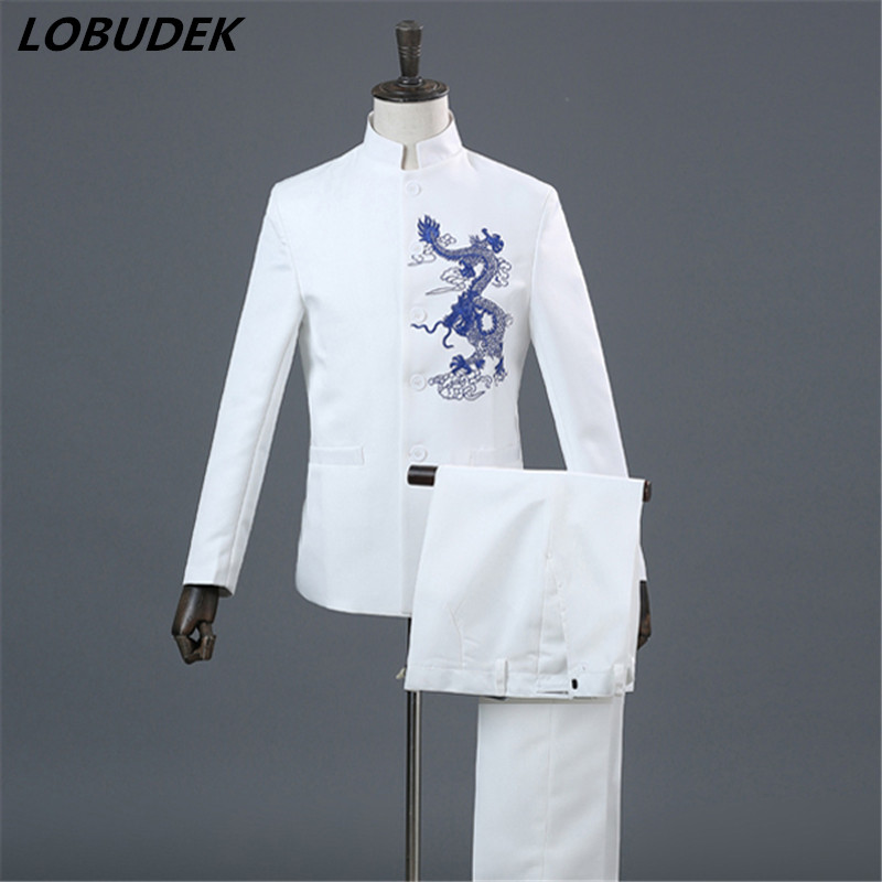 (jacket+pants)China style male suit embroidery coat blazer 2 piece set singer team glee club costume host performance stage wear