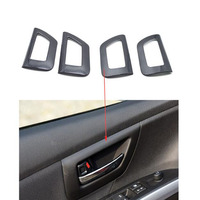 YAQUICKA Carbon Fiber Or Wood Grain Style Car Interior Door Handle Bowl Frame Trim Cover Sticker