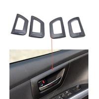 YAQUICKA Carbon Fiber Or Wood Grain Style Car Interior Door Handle Bowl Frame Trim Cover Sticker