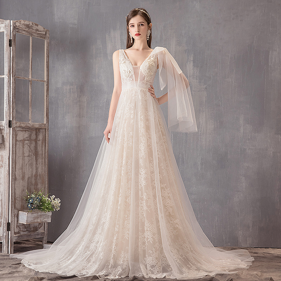 ADLN 2019 Lace Wedding Dresses Vestido De Novia Cap Sleeve V neck A line Vintage Wedding