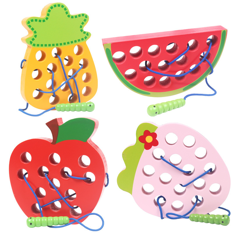 Baby Puzzle Wooden Toy Threading Game Insects Wear Rope Intersting Worm Eat Fruit Apple Copy Early Education  Baby Toys