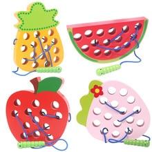 Головоломка деревянная игрушка Threading игра насекомые одежда веревка интересный червь едят фрукты яблоко копия Монтессори раннего образован...