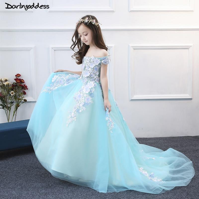 Longueur de plancher robes de demoiselle d'honneur 2018 robe de bal bleu lac robes de première Communion pour filles enfants robe de soirée formelle