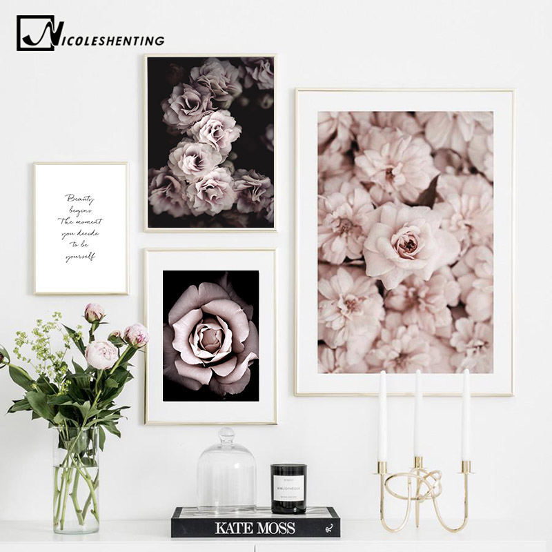 Flower Rose Botanical Canvas Art Poster Nordic Style Decorative Print Wall Painting Scandinavian Decoration Picture Home Decor