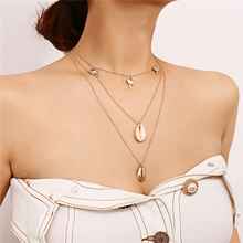 Ailodo Bohemian Pendant Necklace Gold Silver Three Layers Chain Shell Tree For Women Jewelry Vintage Boho Choker LD188
