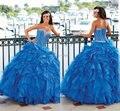 Custom Made 2016 Sweetheart Vestido de Debutante vestido de Bola de Cuentas de Cristal Volantes Royal Blue Organza 2016 Vestidos de Quinceañera