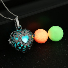 Magic Locket Hollow Heart Glow in the Dark Oil Diffuser Necklace Pendant Charms
