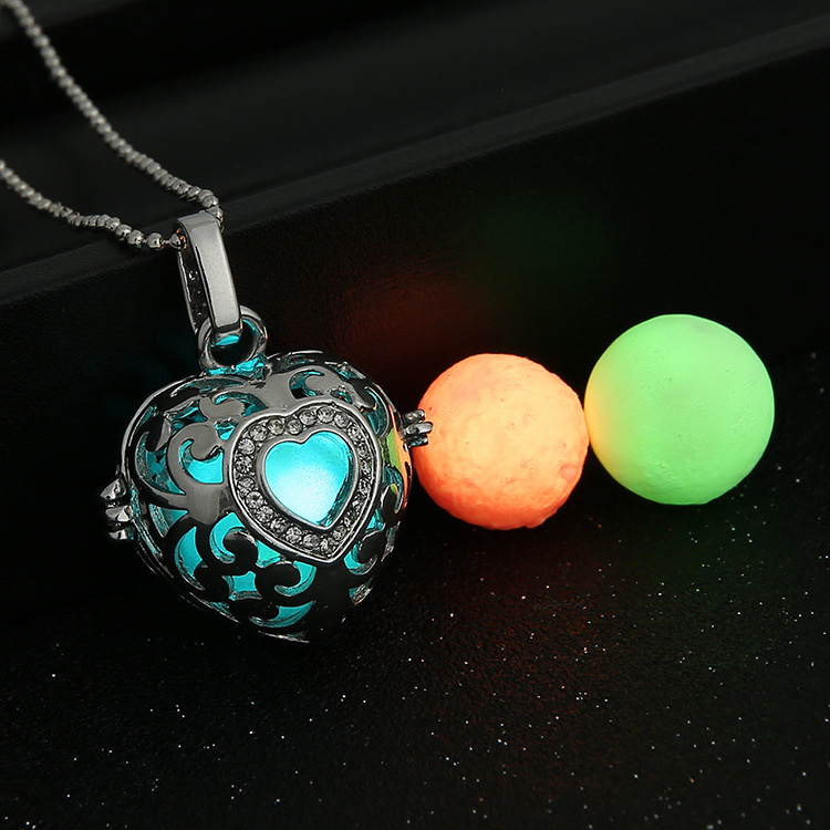 Magic Locket Hollow Heart Glow in the Dark Oil Diffuser font b Necklace b font font