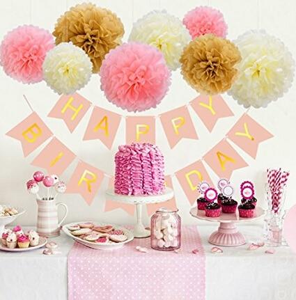 Blulu Happy Birthday Banner Tissue Paper Pom Poms Flower for