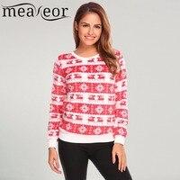 Meaneor Women 2017 New Fall Christmas Sweatshit O Neck Long Sleeve Deer Print Patchwork Fleece Casual