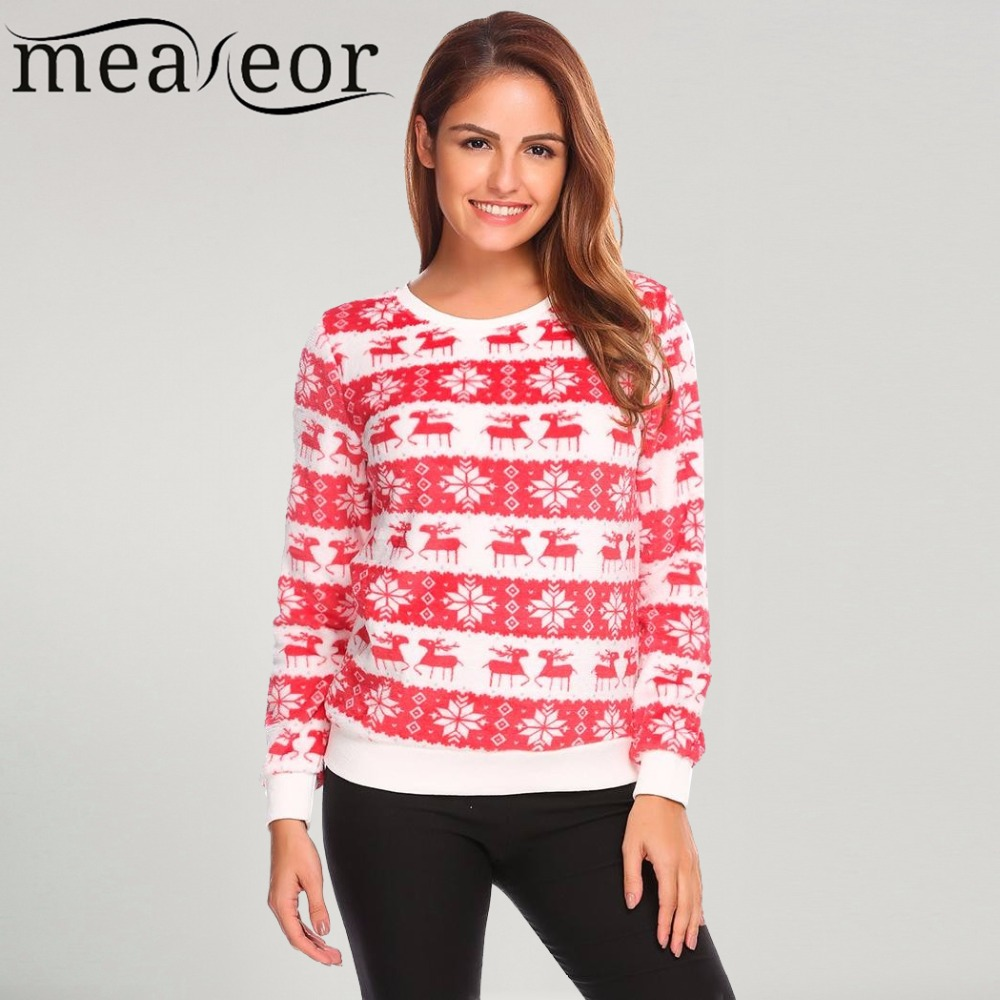 Meaneor Women 2017 New Fall Christmas Sweatshit O-Neck Long Sleeve Deer Print Patchwork Fleece Casual Pullover Sweatshirts Tops ...